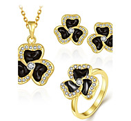 Fashion Diamond Clover Jewelry Gold-Plating Three-Piece(Gold,Rose Gold,White)(3pcs)