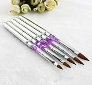 5 piezas Akrilik gel ultravioleta, uñas de arte desain pena, Lukisan Sikat polaco kit de manicura ALAT