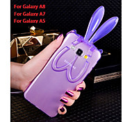 Fashion Cute Transparent Silicone Rabbit Ears Lanyard Back Stand Case Cover For Samsung Galaxy A5/A7/A8