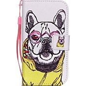 The New Glasses Dog Lanyard PU Leather Material Flip Card Cell Phone Case for Samsung Galaxy G530/G360
