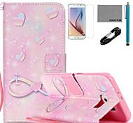 Coco fun®-de-rosa Teste padrão romântico estojo de couro pu com cabo usb v8, flim, caneta e stand para Samsung Galaxy S6
