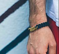 Lureme®Fashion Men Titanium Steel Twist Gold Chain Silicone Wristbands Chain Bracelet
