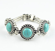 Vintage Look Antique Silver Plated Alloy Round Turquoise Lava Rock Stone Bracelet(1PC)