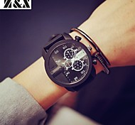 Men's Fashion Big Watch Personality Leather Quartz Analog Sport Watch(Assorted Colors)