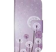 lila Löwenzahn gemalt PU-Telefonkasten für Galaxie j5