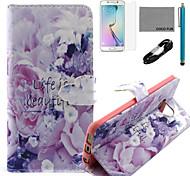 vida de coco fun® é bonito padrão de capa de couro pu com cabo usb v8, flim, caneta e stand para Samsung Galaxy S6 borda