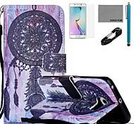 Coco fun® padrão dreamcatcher estojo de couro pu com cabo usb v8, flim, caneta e stand para Samsung Galaxy S6 borda