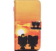 The New Sunset kitten Pattern PU Leather Material Flip Card Cell Phone Case for iPhone 6 /6S