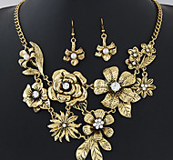 European Style Fashion Metal Flower Exaggerated Necklace Earrings Set
