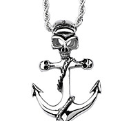 Fashion Stainless Steel Silver Men Gift Skull Skeleton Anchor Necklace Pendant(1PC)