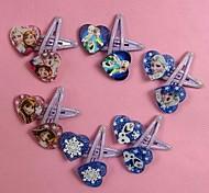 10pcs Random Girls Hairpins Children Princess Elsa Anna Hair Clips For Kids Hair Accessories Heart-shaped Hair Clips