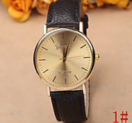 Men's Round Gold Plate Geneva Simple Leather Watch Wrist Watch Cool Watch Unique Watch