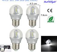 YouOKLight® 4PCS E27 3W 12*SMD2835 260LM 6500K White Light LED High-end&Luxury &High quality Globe Bulbs (AC 220V)