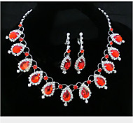 Lucky Doll Women's All Matching 925 Silver Plated Crystal Gem Zirconia Tassel Long Necklace & Earrings Jewelry Sets