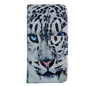White Leopard Head Pattern Full Body Case With Card Slot for iPhone 6 Plus/6S Plus