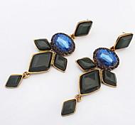European And American Fashion Wild Sapphire-jewelry Jemstone Long Earrings