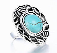 Vintage Look Antique Silver Plated Flower Turquoise Stone Adjustable Free Size Ring(1PC)
