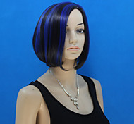 Europe And The United States  New  Ms Black Polyester Dyed Blue BOBO Head Wig