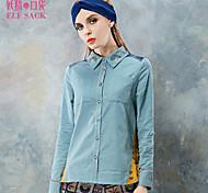 ELFSACK Femme Col de Chemise Manche Longues Shirt et Chemisier Bleu / Rose - 1434089