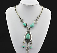 Vintage Look Antique Silver Plated Water Drop Turquoise Stone Necklace Pendant (1PC)