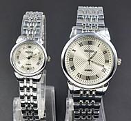 moda casual man seletor árabe estilo numeral aço ouro prata relógio de pulso de quartzo tira de metal mulher casais amantes '