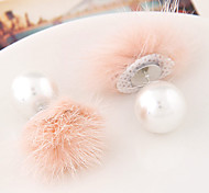 Korean Fashion Lady Style Western Style Personality Wild Hair Balls Pearl Earrings