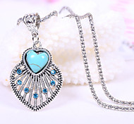 HUALUO®Inlaid Diamond Earrings Love Turquoise Necklace