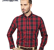 JamesEarl Men's Shirt Collar Long Sleeve Shirt & Blouse Red - DA112047201