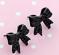 Women's  Black Bow Tie Full Diamond Earrings