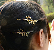 Women Fashion Beautiful Metal Leaf Flower Pattern Hairpin Hair Accessories Jewelry 1pc