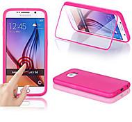 Para Funda Samsung Galaxy con Ventana / Flip / Transparente Funda Cuerpo Entero Funda Un Color Silicona Samsung S6