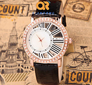 The Trend Of Large Hollow Dial Roman Script Waterproof Leather Quartz Female Form Cool Watches Unique Watches