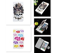 The Indians and Lip Pattern PU Leather Full Body Case for iPhone 4/4S