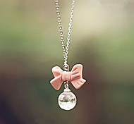 Pink Bowknot Crystals Drop Necklace
