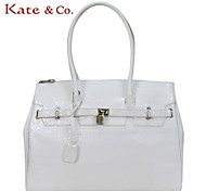 Kate & Co.® Women PVC Tote White / Green - TH-01794