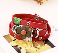 Flower Design Long Band Leather Bracelets