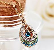 Angel Crystal Teardrop Lady Short Hollow Multicolored Diamond Drop Pendant Necklace jewelry