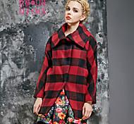 ELFSACK Women's Shirt Collar Long Sleeve Wool & Blends Red / Yellow - 1432104