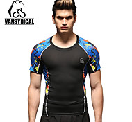 Vansydical Men's Breathable Fitness Tops White / Blue / Dark Coffee