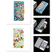 Flowers Pattern PU Leather Full Body Case for iPhone 4/4S
