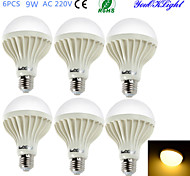 YouOKLight® 6PCS E27 9W 15*SMD5630 700LM 3000K Warm White Light  LED Energy saving Globe Bulbs (AC 220V)