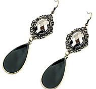 Water Drop Shaped Crystal Black Stones Earrings