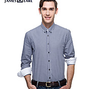 JamesEarl Men's Shirt Collar Long Sleeve Shirt & Blouse Blue - DA112046227