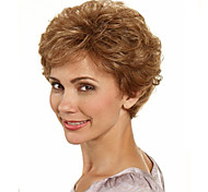 Capless Brown Color Short Synthetic Curly Hair Wig Full Bang