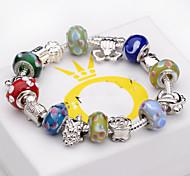 Women jewelry 925 Sterling Silver bracelet color Murano Glass Crystal European Beads Strand Beads bracelets BLH028