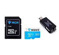 Original MGN 16GB  Class 10 MicroSDHC TF Flash Memory Card with SD SDHC Adapter and USB & OTG  Two in One Card Reader