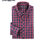 JamesEarl Men's Shirt Collar Long Sleeve Shirt & Blouse Red - MB1XC000301