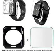 TPU moda suave cubierta de la caja de ida y protector de pantalla de cristal templado de 38mm iWatch / 42mm