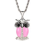 Multi-Color Mysterious Owl Crystal Inlay Stainless Steel Pendant Necklace