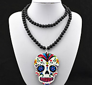 Vintage Look Skull Skeleton Black Beads Chain Necklace Pendant(1PC)